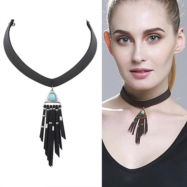 suede tassel necklace, suede tassel necklace