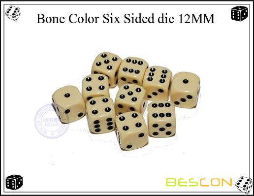 Bone color six sided die 12MM