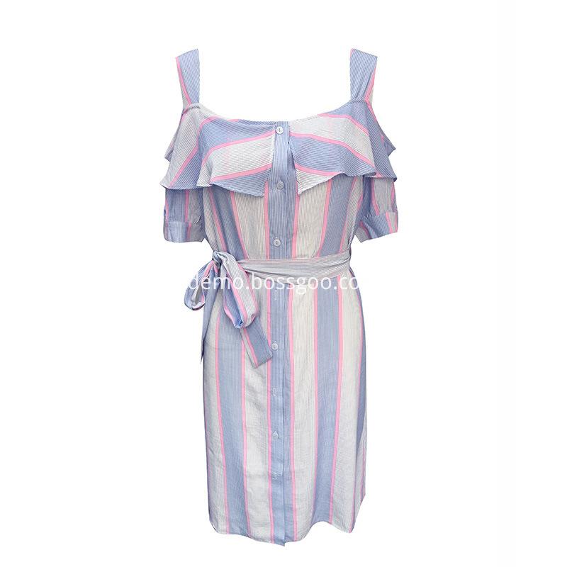 2018-Spaghetti-Strap-Dress-Elegant-Party-Dress-Slash-Neck-Sash-Buttons-Stripe-Women-off-the-shoulder (2)