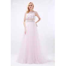 A-Line/Princess Tulle Floor-Length Light Pink Prom Dresses