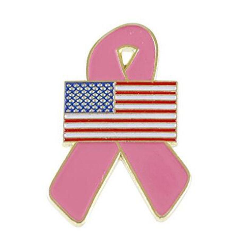 American Flag Pink Breast Cancer Awareness Ribbon Lapel Pin
