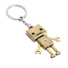 Movable Metal Robot Keychain Metal Key Chain Ring for Women Men Gift Charms Pendant