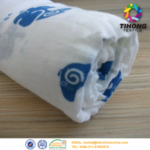 printed cotton muslin fabric for baby