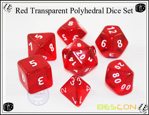 Red Transparent Polyhedral Dice Set