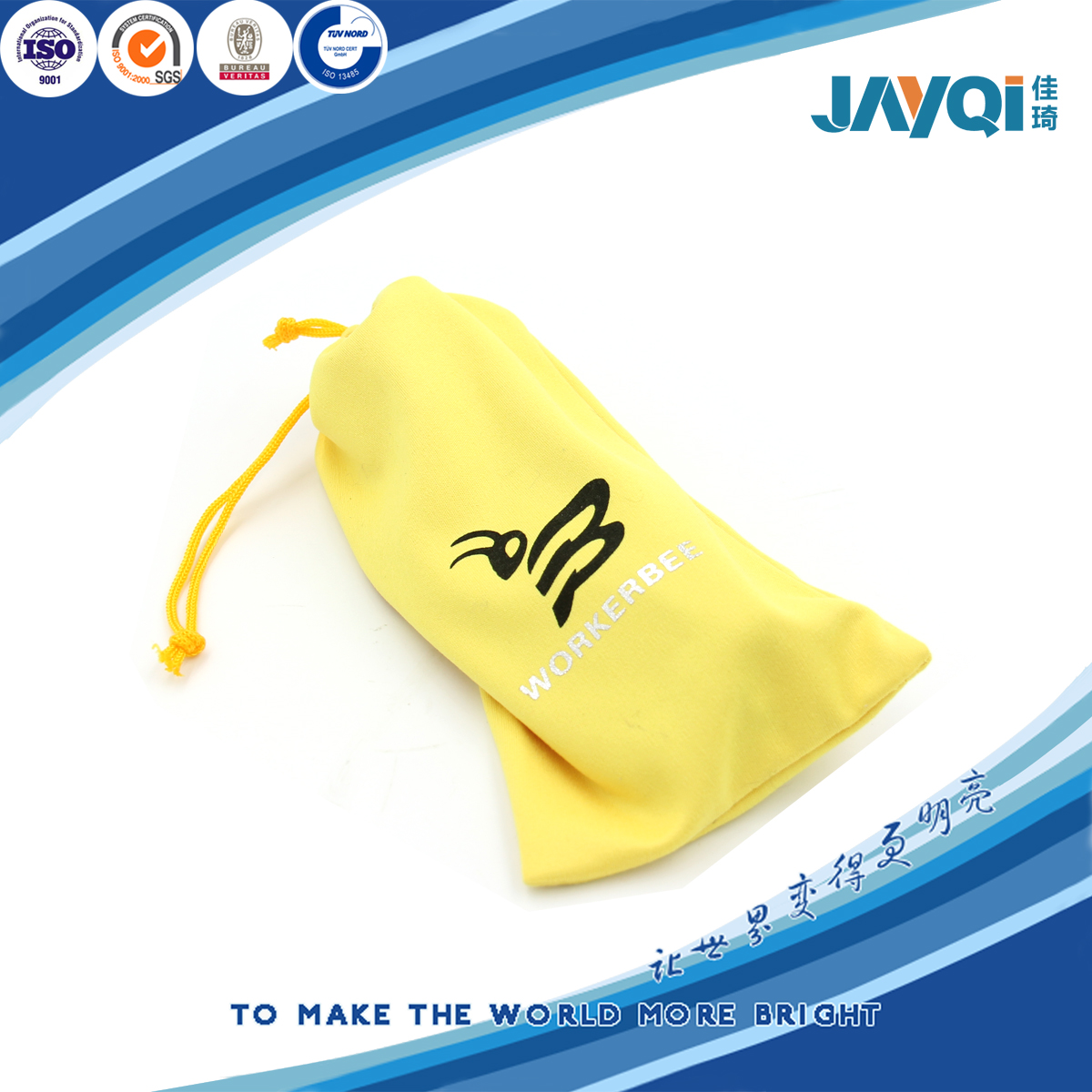 Black Logo Printing Drawstring Pouch for Camera