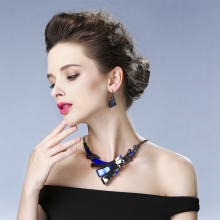 Wedding Bridal Jewelry Set Rhinestone Necklace and Earrings for Women
