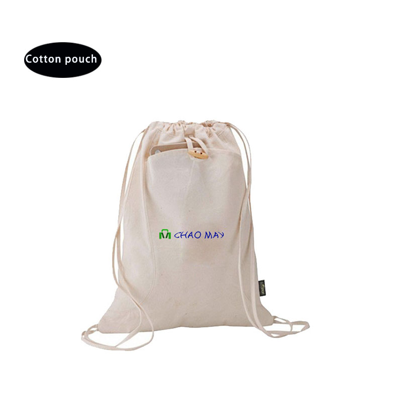natural cotton fabric drawstring bag