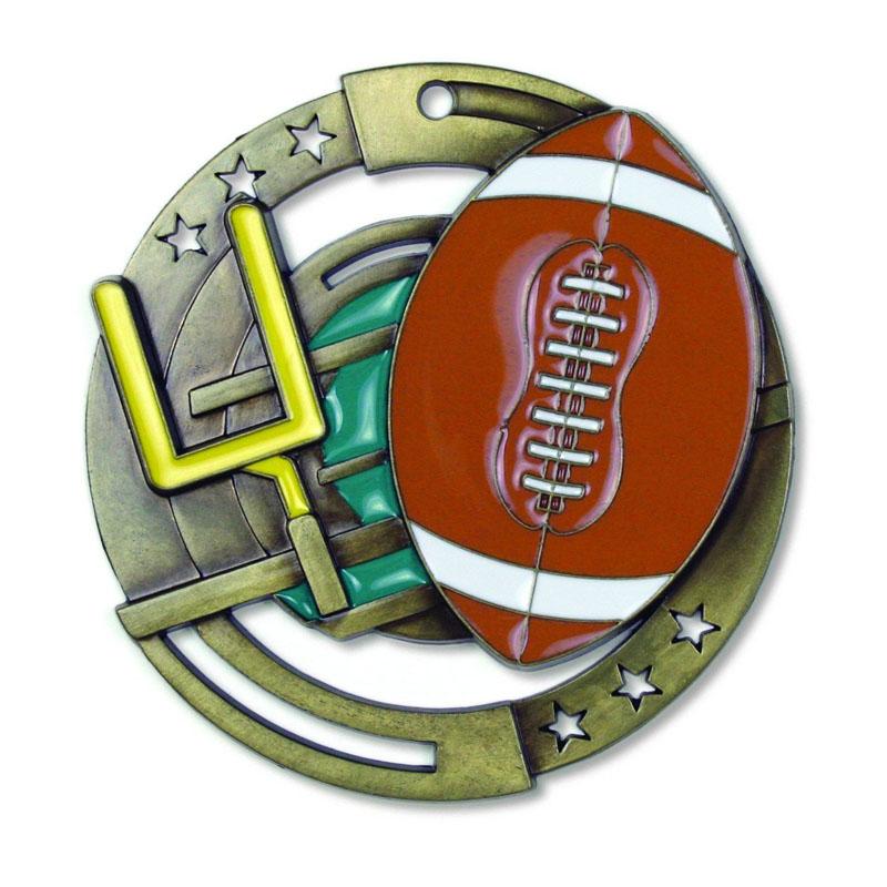 Gold Football Die Cast Medal