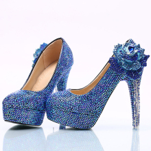 Women's Elegant Pearls Round Toe Platform High Heel Slip On Wedding Pumps Shoes