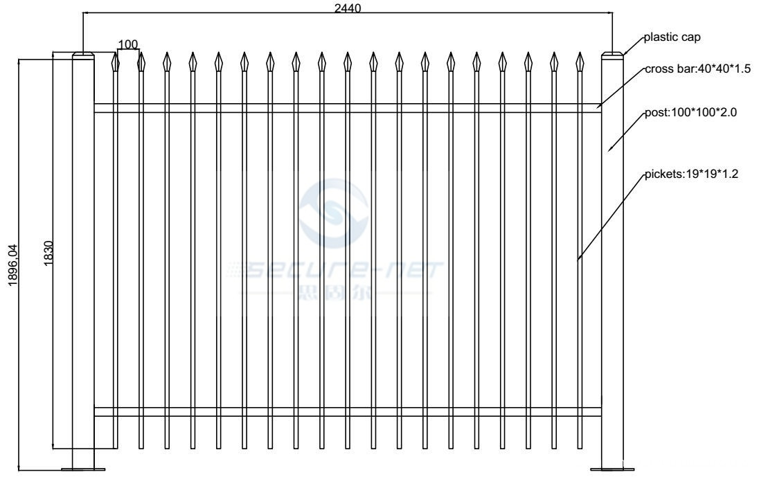 Wrought Iron Picket Fence Fence Gate specification