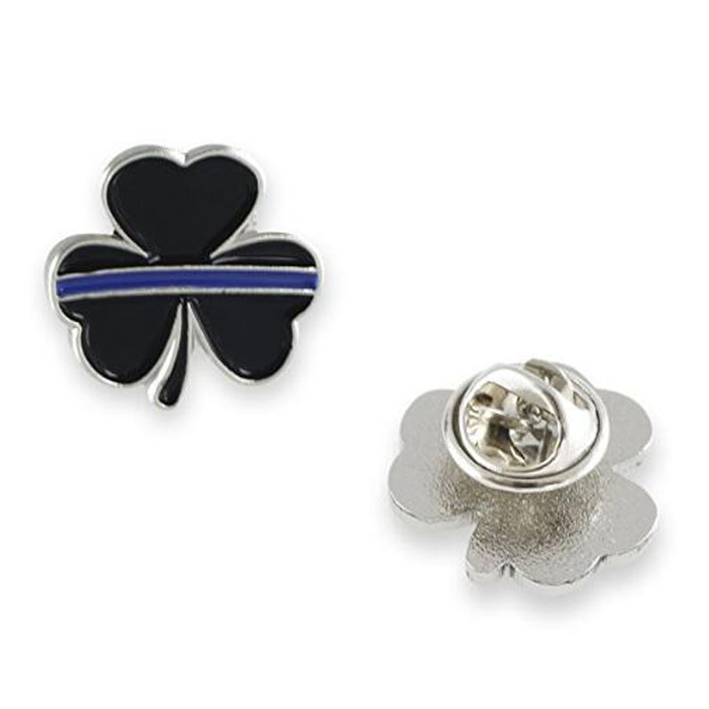 Thin Blue Line Shamrock Lapel Pin