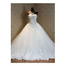 Ball Gown Tulle Court Train Wedding Dresses in White