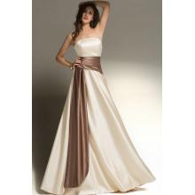 A-Line Strapless Floor Length Elastic Satin Bridesmaid Dresses with Sash