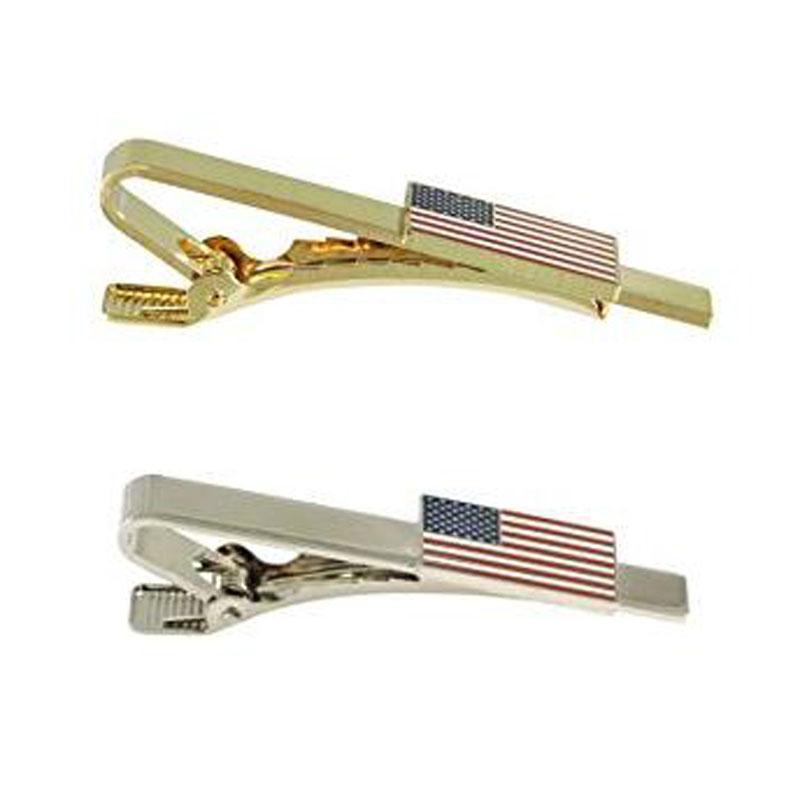 American Flag Silver Tie Bar