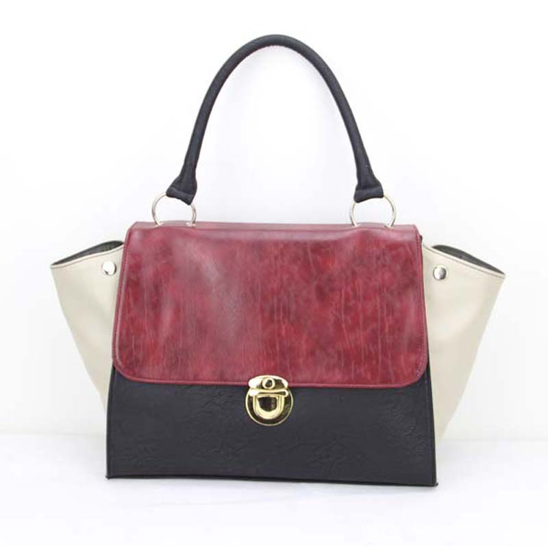 Womens Leather Tote Bags Dkp 1507 H100 Red Black