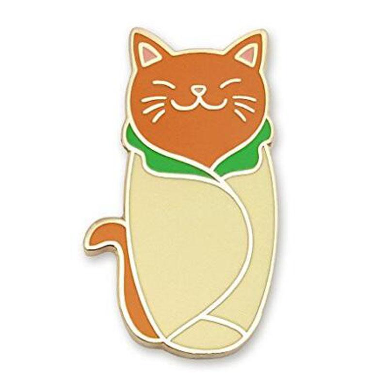 Cute Cat Purrito Enamel Lapel Pin