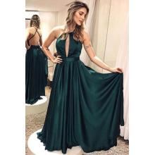 A-Line/Princess Satin Floor-Length Green Wedding Guest Dress