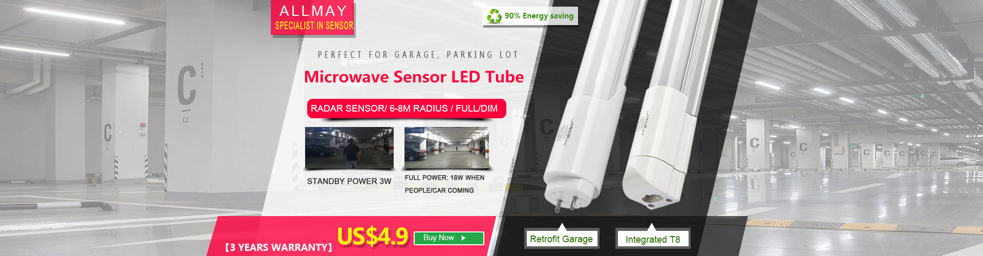 Microwave Sensor Led T8 For Parking Lot