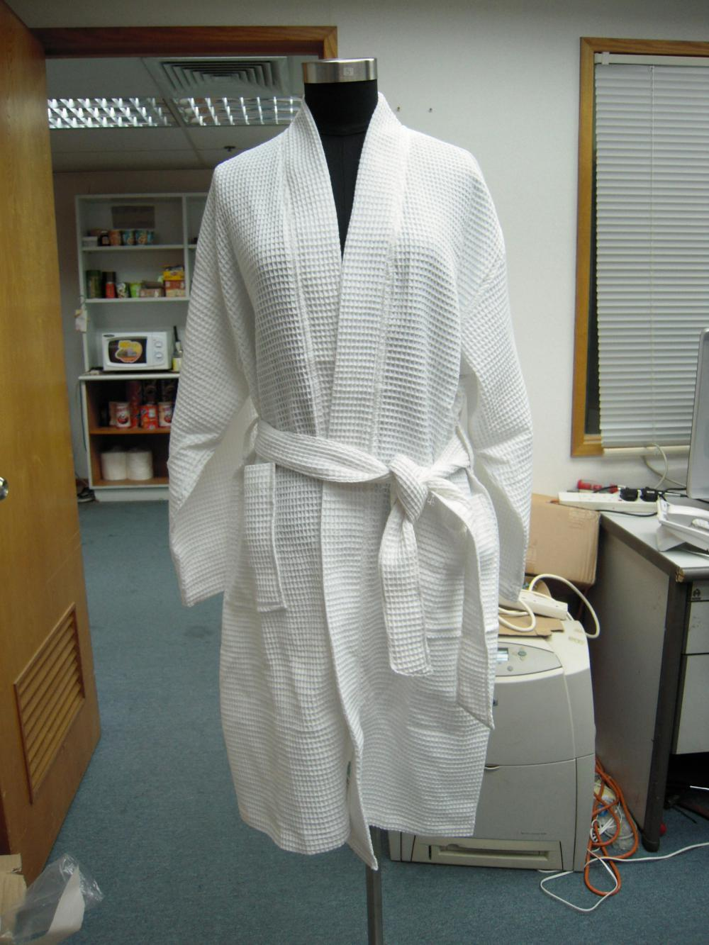 CVC Waffle Square Pattern Kimono Bathrobe