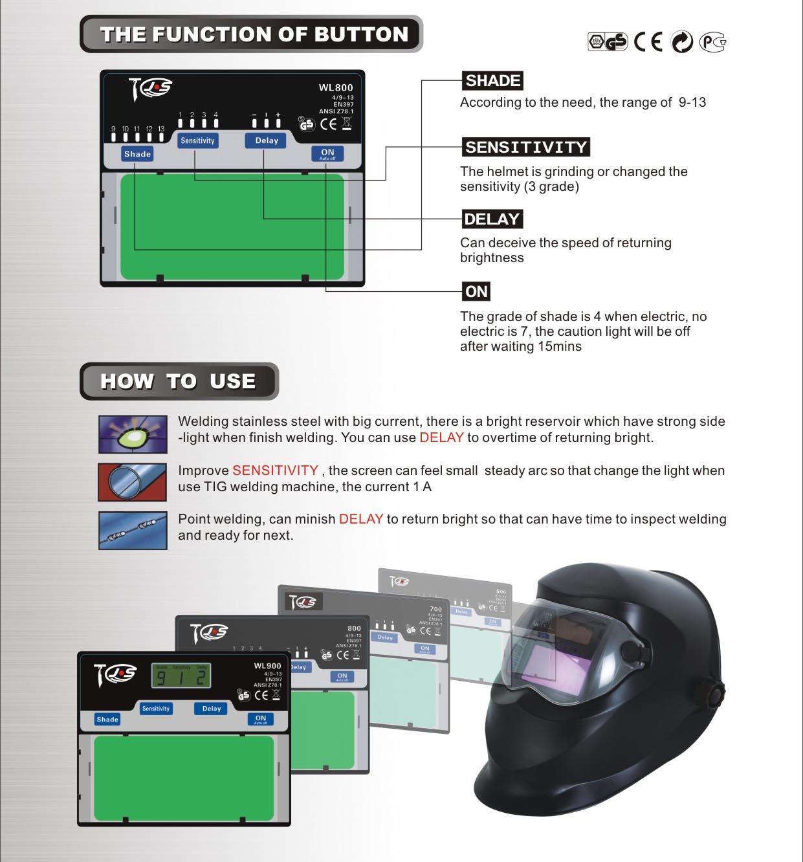The function of welding helmet buttom