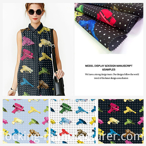 Polyester Colorful Guns Printed Organza Garment Fabric