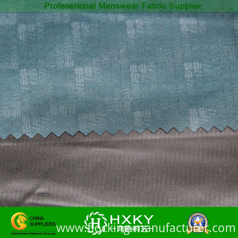 Gradient Checks Embossed Polyester Taffeta Fabric for Men's Jacket