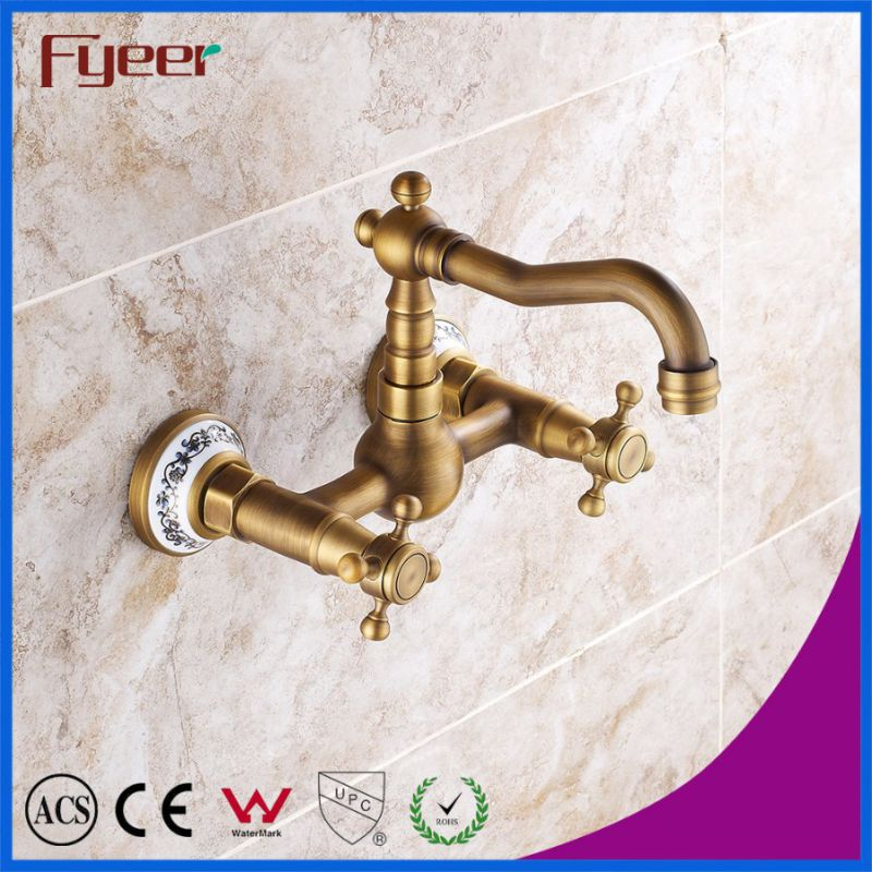 Fyeer Double Cross Handle Wall Mounted Antique Kitchen Faucet
