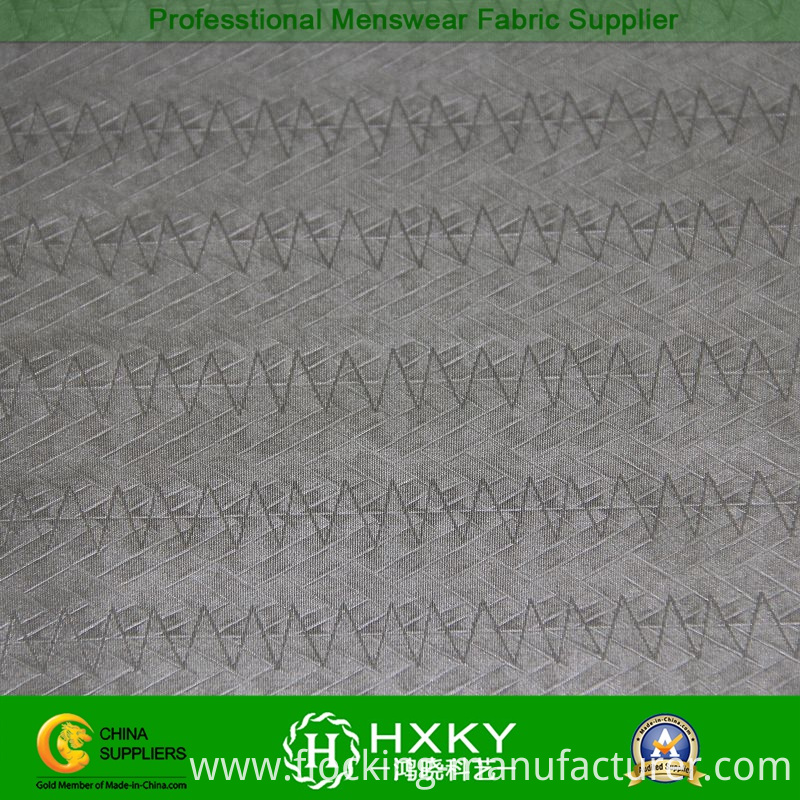 Wave Type Embossing Poly Taffeta Fabric for Casual Jackets