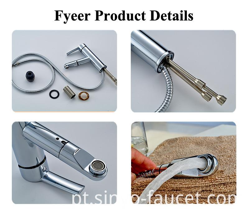 Pull out Brass Kitchen Sink Mixer Faucet (Q13003)