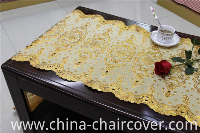Popular Design Gold/Silver PVC Long Lace Table Runner