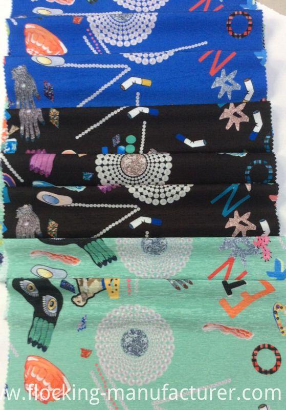 Shinny Polyester Garment Fabric with Cartoon-Pattern Printing