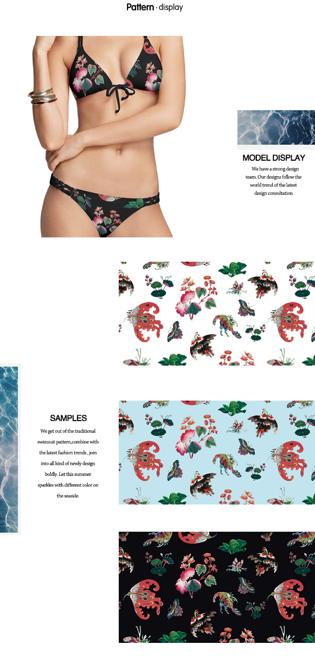 Polyester Spandex Printed Knit Fabric with 3 Colors for Swimwear