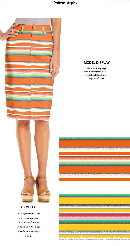 Stretchable Stripes Printed Dress/ Top/ Skirt Garment Fabric
