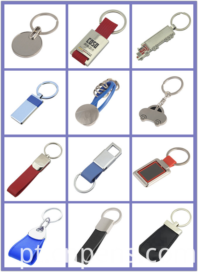 Promotion Metal Imprint 2 Side Logo Leather Key Chain (F3030)
