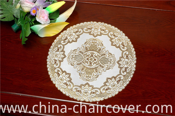 Cheap 30cm Round Lace Gold PVC Tablemat Popular Use Coffee/Home