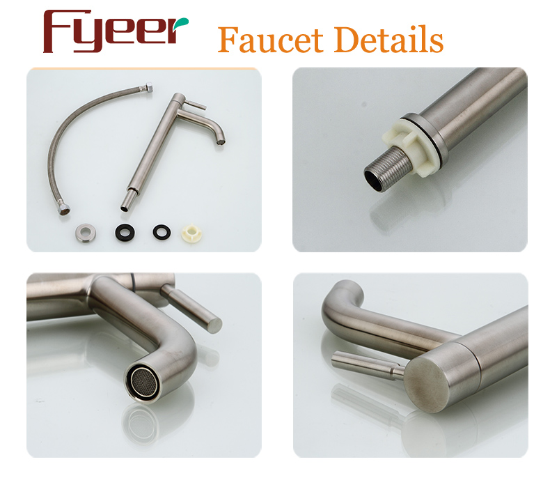 Fyeer High Body Cheap Cold Only Stainless Steel Basin Tap