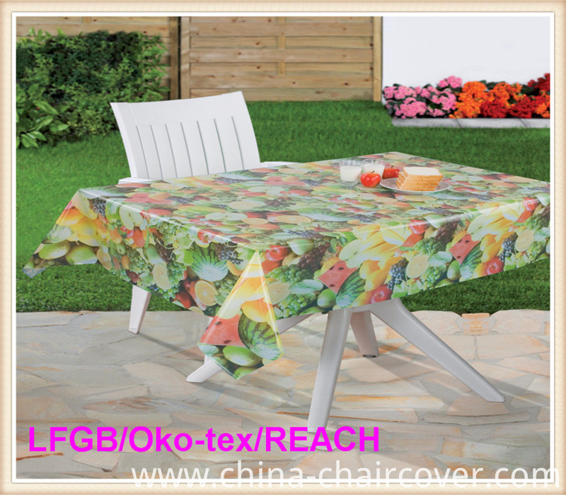 Cheap PVC Printed Transparent Tablecloth Hot Sale