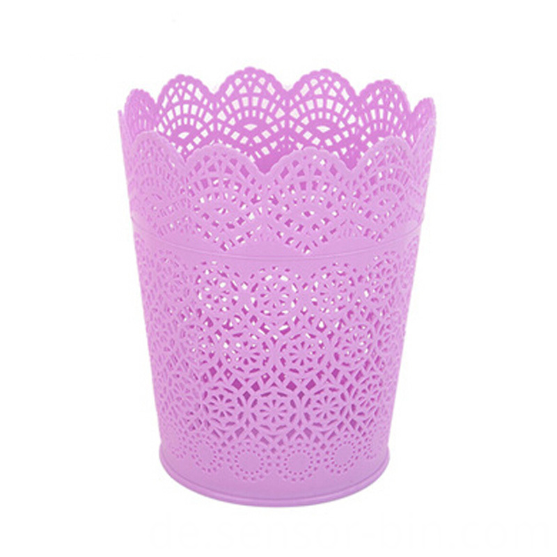 Four Colors Available Plastic Hollow Open Top Trash Bin (B01-8086)