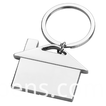 House Shape Spinning Metal Promotion Keyring with Company Logo (F1079B)