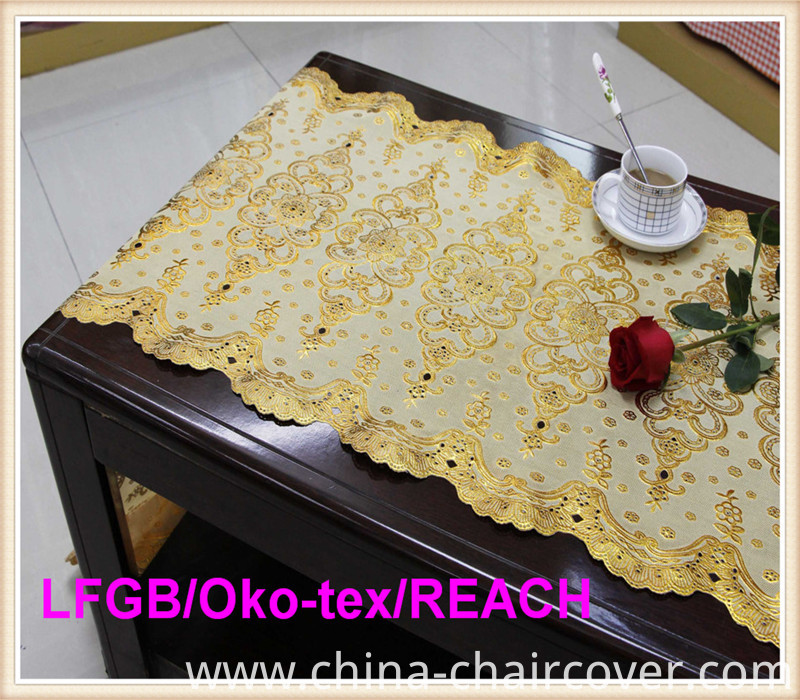 Vinyl PVC Long Lace Silver and Gold Table Mat 50cm Width