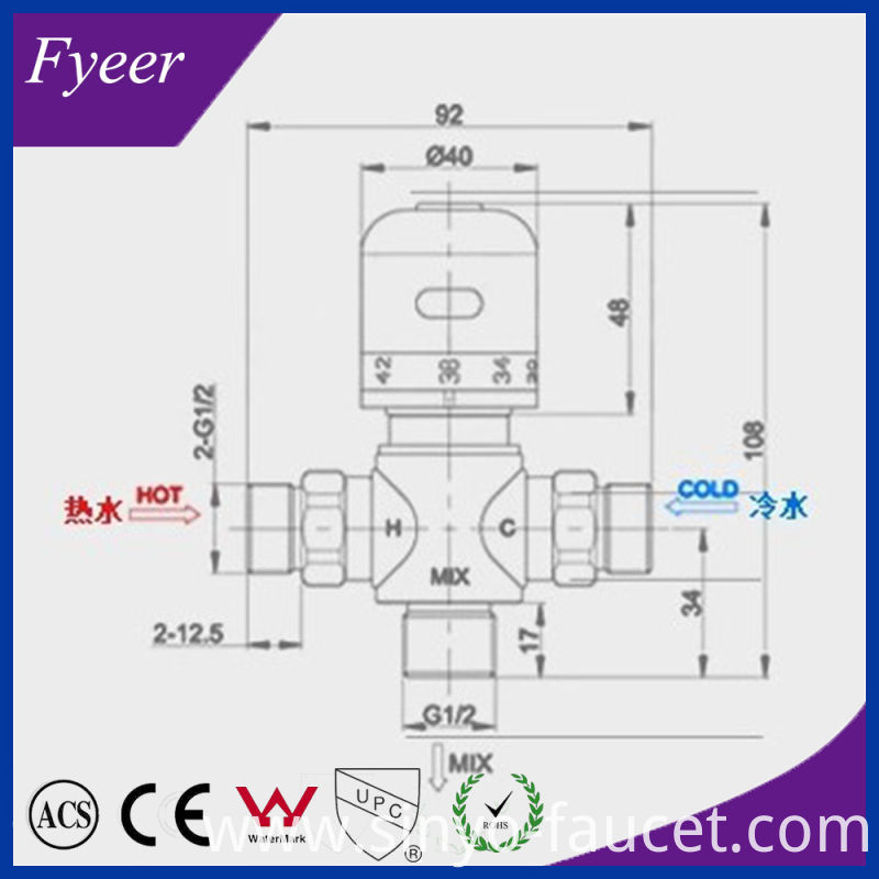 Fyeer Dn15 Dn20 Temperature Control Brass Thermostatic Mixing Valve