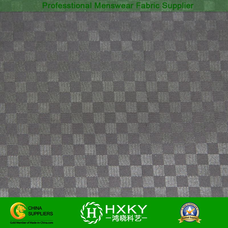 Checks Polyester Taffeta Fabric with Embossed for Men's Outerwear