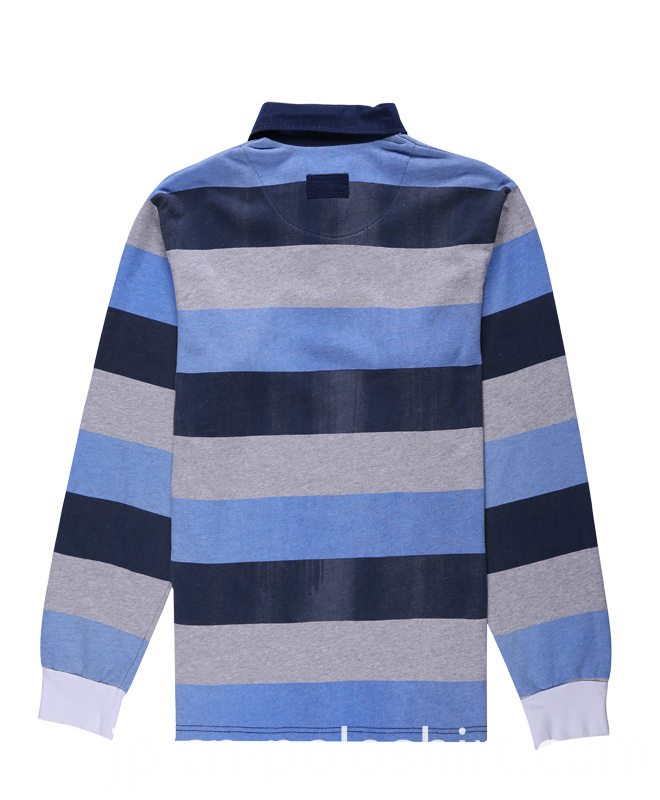 Long Sleeves Stripe Yarn Dyed Polo Shirt