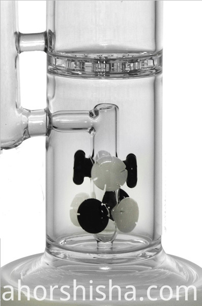 Splash Guard Glass Smoking Water Pipe with Heart Honeycomb (ES-GB-454)