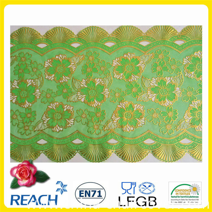 PVC Printed Long Lace Tablecloth Gold/Silver