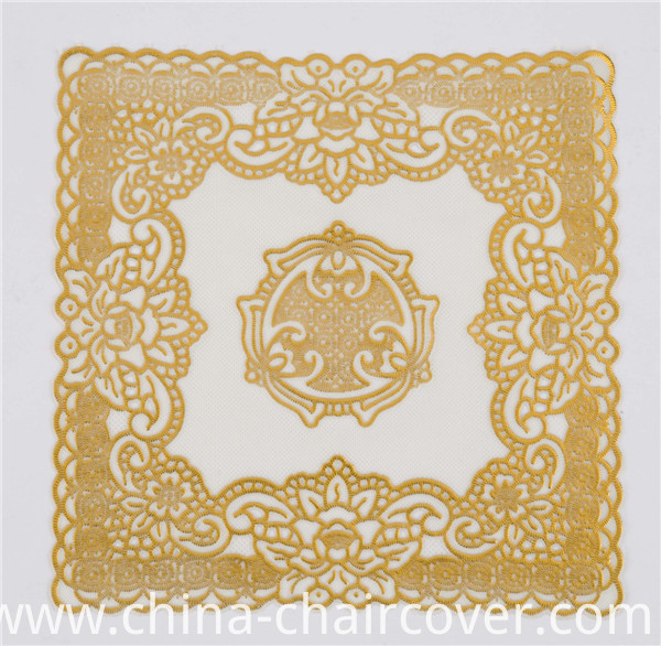 20cm Round Shape Gold Lace PVC Doily Feature Oilproof, Waterproof