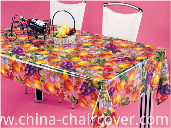 New Design Vinyl Material PVC Printed Transparent Tablecloth