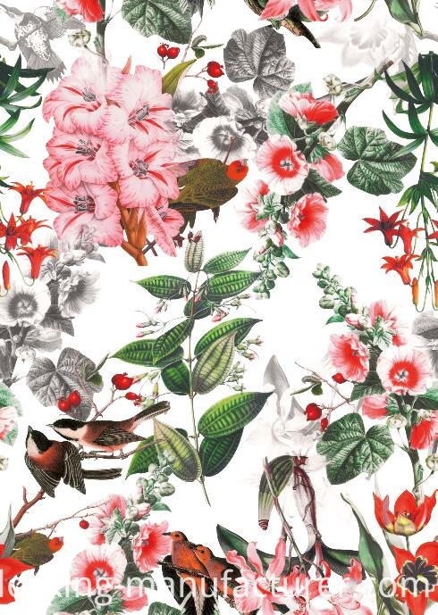 Living Flower/Bird Woven Printed Polyester Garment Fabric