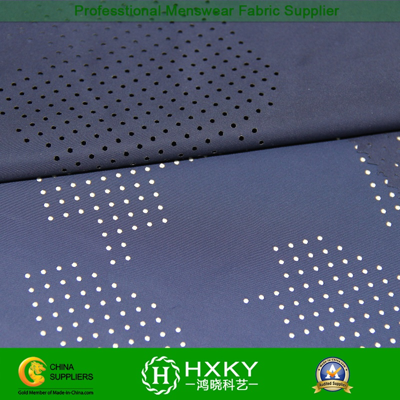Perforated Polyester Memory Fabric with Pattern for Sportswear Jacket