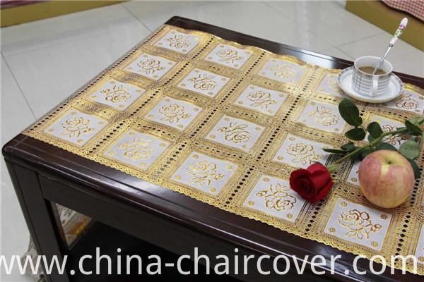 50cm Golden PVC /Vinyl Long Lace Table Runner in Roll
